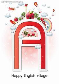 A英文字字体设计卡通插画