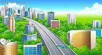 高速公路旁边的绿色城市卡通风景插画