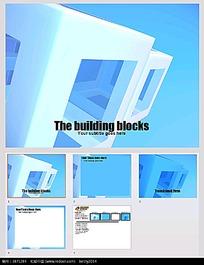 蓝色3D建筑模块背景PPT