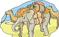 沙漠大象骆驼韩国矢量插画