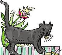 咬着金币的猫咪韩国矢量插画