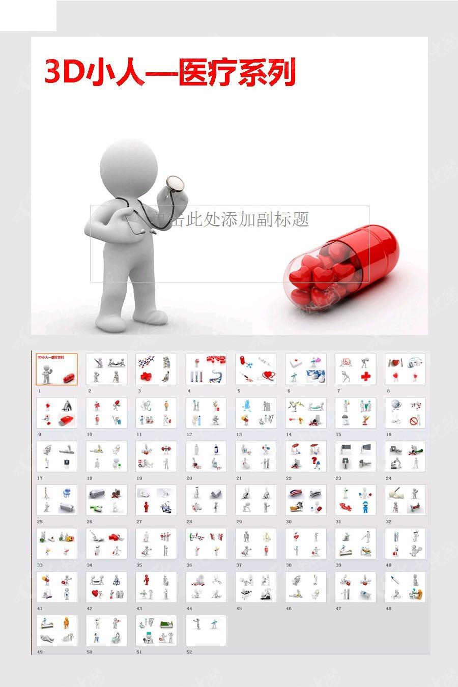 3d小人医疗系列ppt模板图片