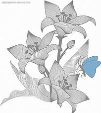 菊花和蓝色蝴蝶黑白线描画EPS免费下载 花纹花边素材