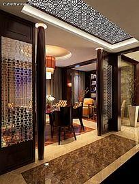 中式酒店包厢室内设计效果图