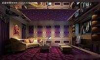 紫色华丽KTV包厢效果图