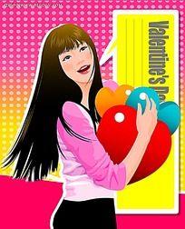 抱着心形的长发美女PSD插画
