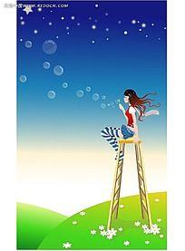 吹泡泡的长发美女PSD插画