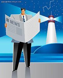 看新闻的商务男人PSD插画