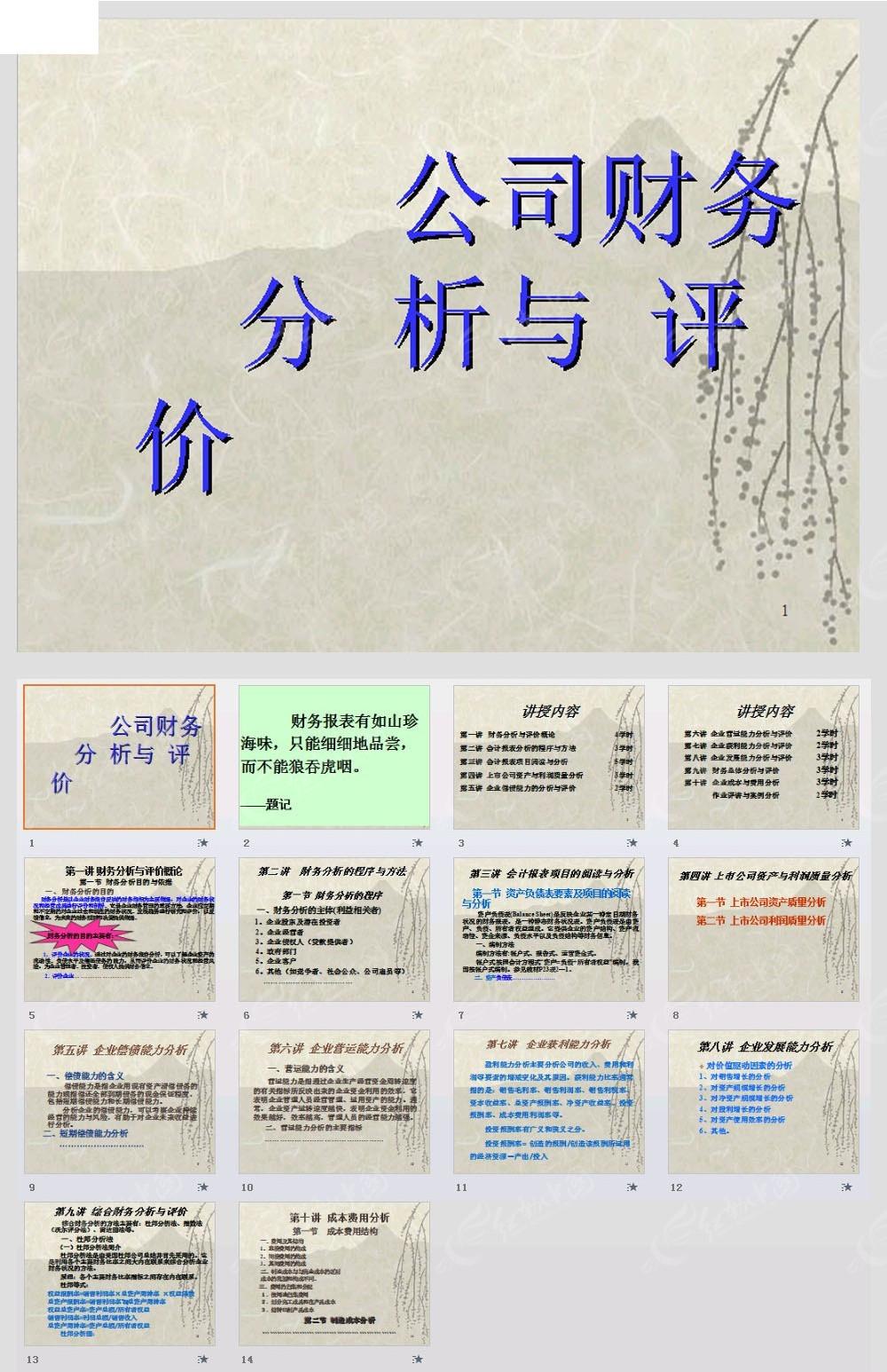 公司财务分析与评价ppt模板免费下载_金融理财素材图片