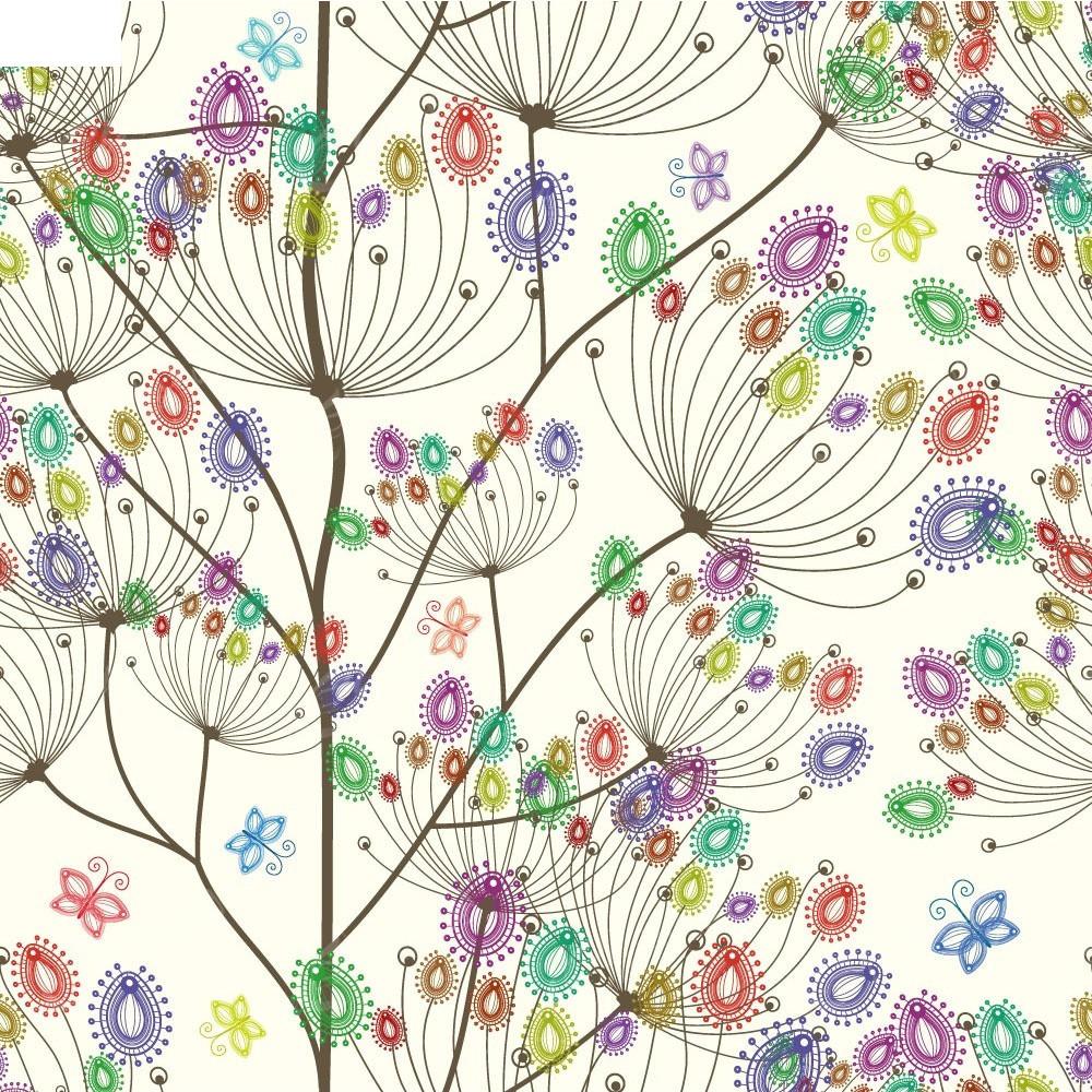 欢快手绘彩色线条蒲公英设计图eps