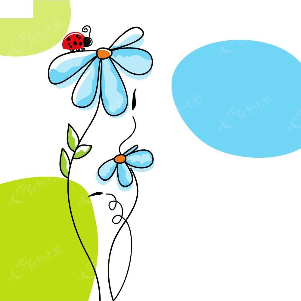 简洁现代手绘花朵卡片eps