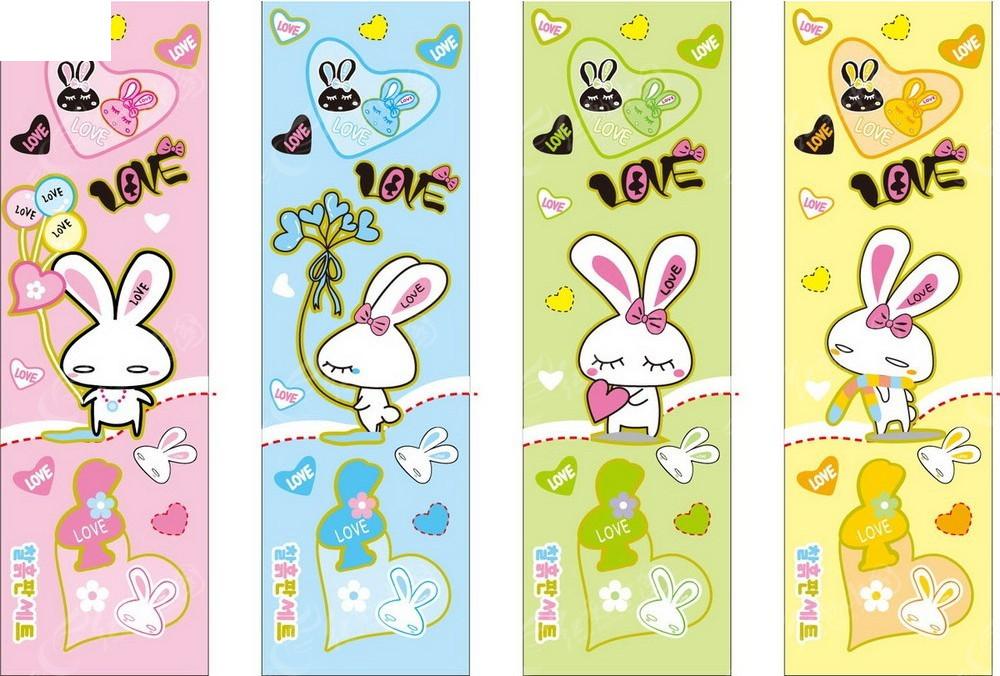 可爱彩色卡通图案加兔子卡片eps