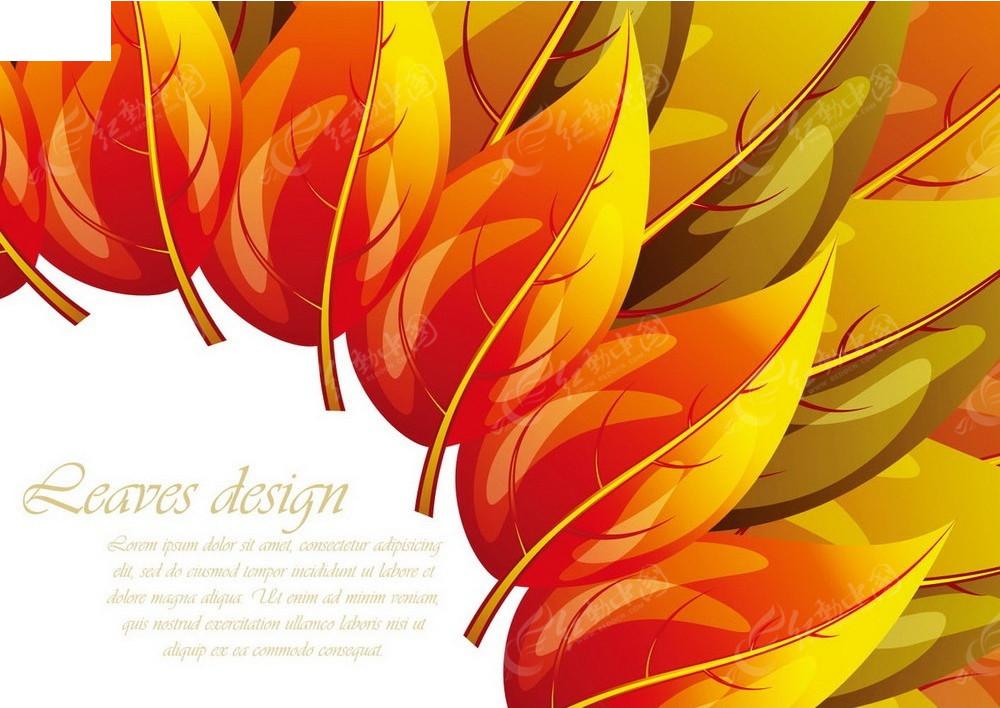 免费素材 矢量素材 花纹边框 底纹背景 手绘暖色叶子组合设计卡片eps
