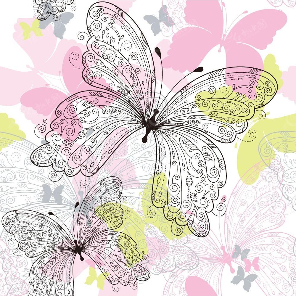 手绘线条花纹蝴蝶组合设计卡片eps