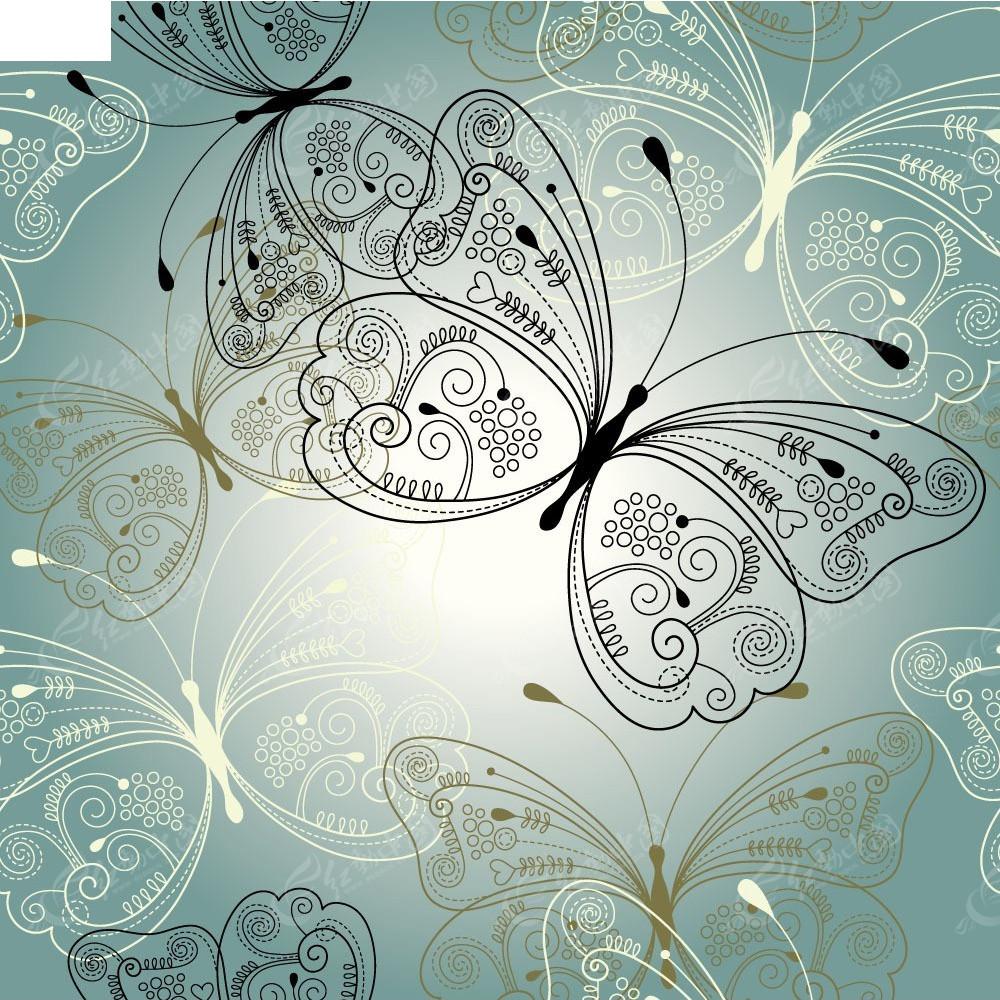 手绘线条花纹蝴蝶组合矢量图eps