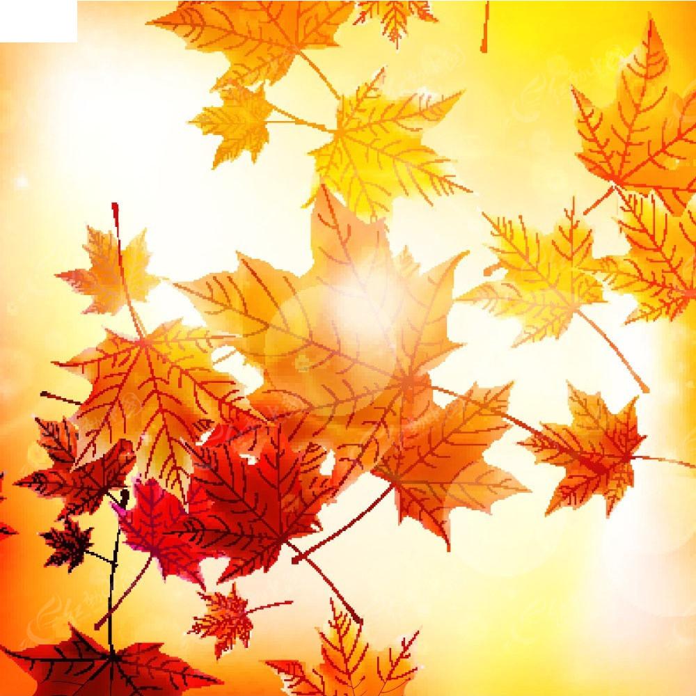 温暖阳光下的手绘飘落的枫叶画面eps图片