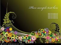 彩色花朵藤蔓矢量素材