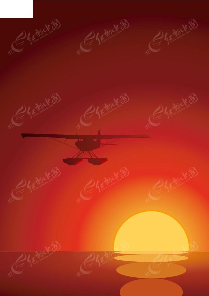 飞机和夕阳矢量背景素材