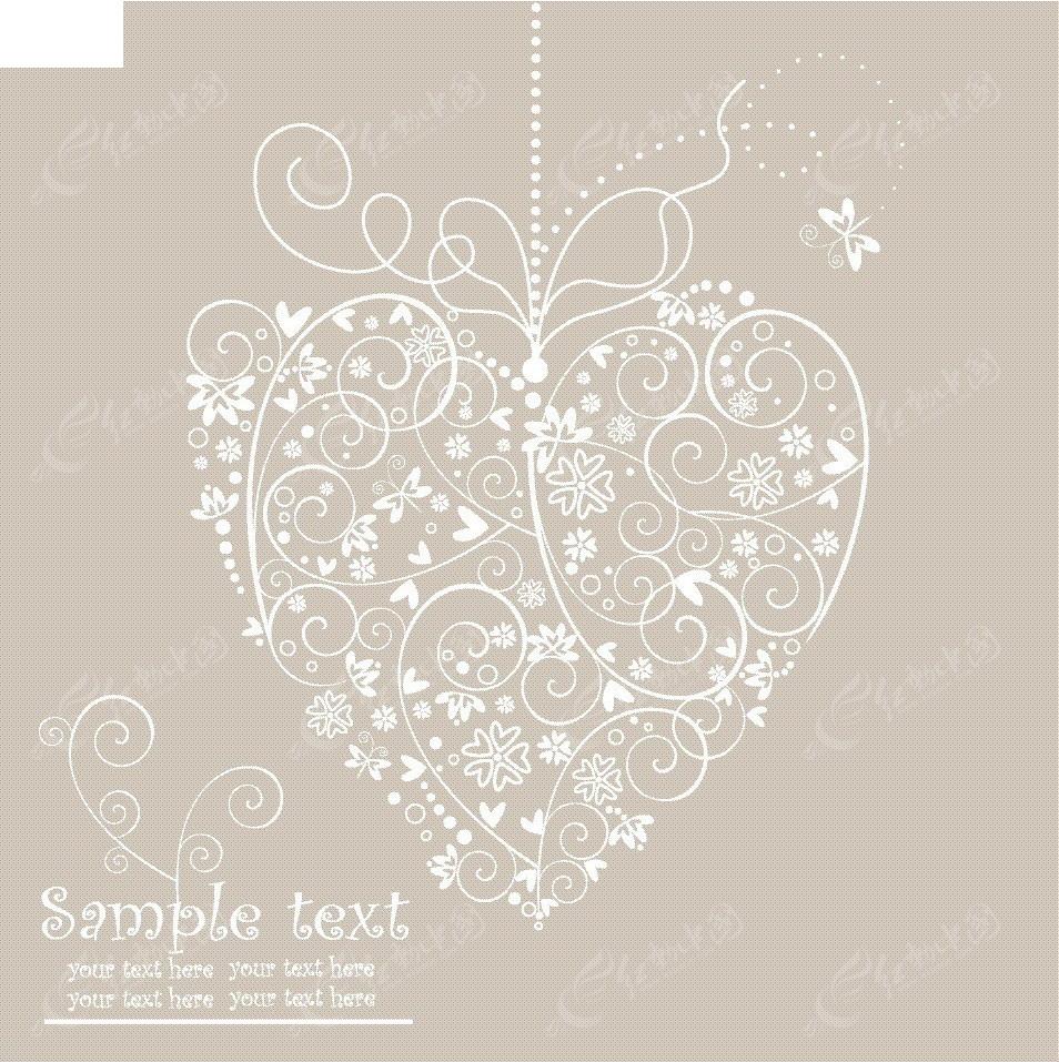 简洁手绘线条花纹组合爱心卡片eps