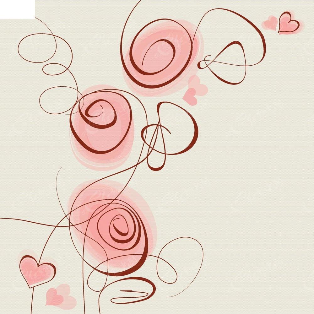 简约手绘线条花组合卡片eps