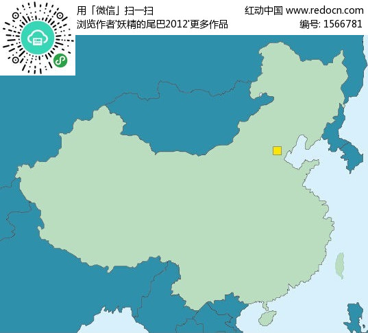 手绘中国地图上的首都北京