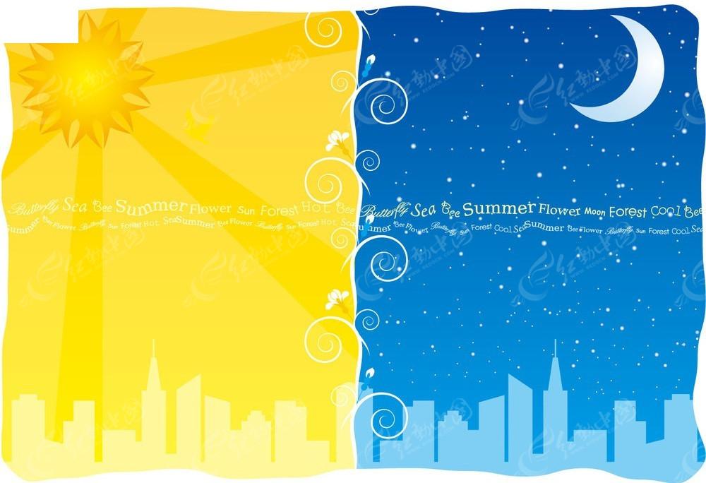 太阳和月亮矢量背景素材