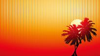 椰树和太阳矢量素材