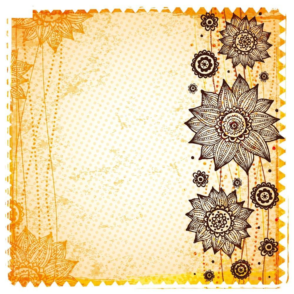 复古暖色线条花纹斑驳卡片eps