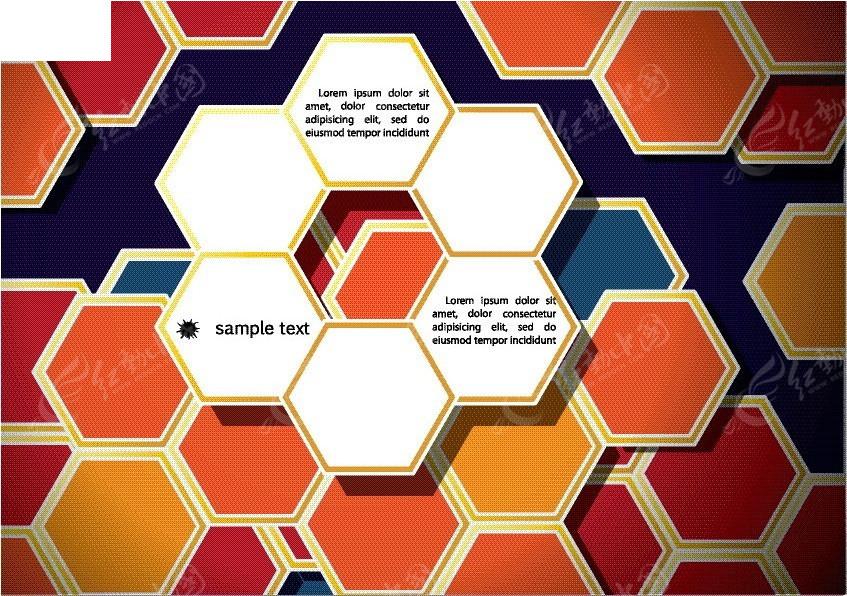 简洁彩色六边形组合设计图案画面eps