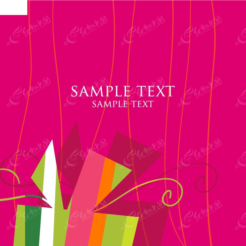 简洁手绘彩色条纹组合图卡片eps
