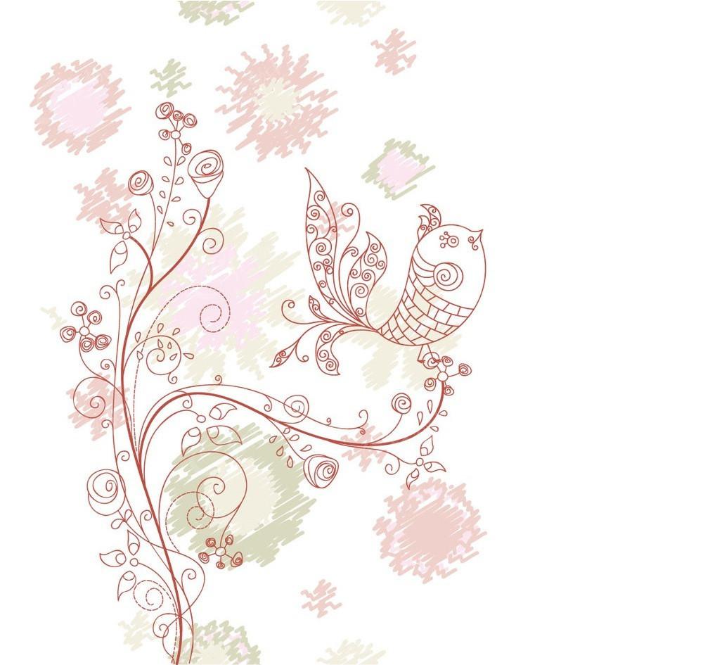 简洁手绘彩色线条花鸟组合画面eps矢量图免费下载