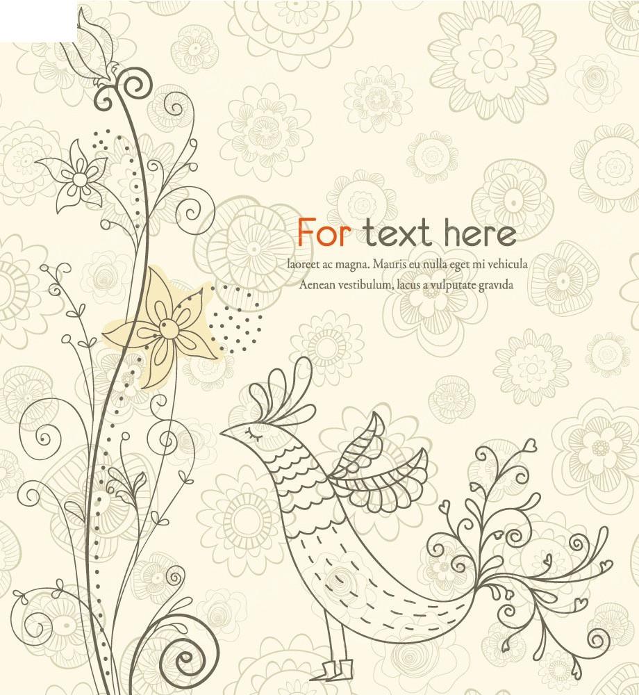 免费素材 矢量素材 花纹边框 底纹背景 手绘线条抽象花鸟卡片eps