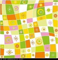 可爱彩色点线面花纹组合设计画面eps