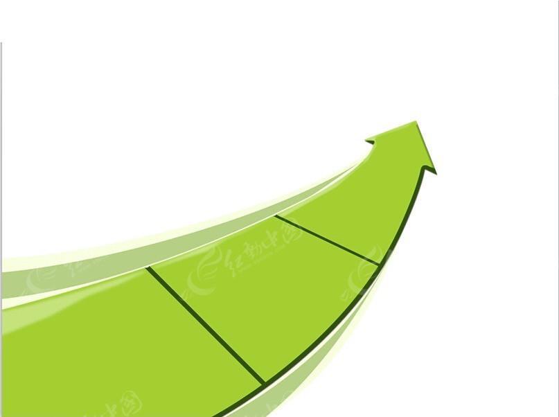 绿色立体箭头ppt图标