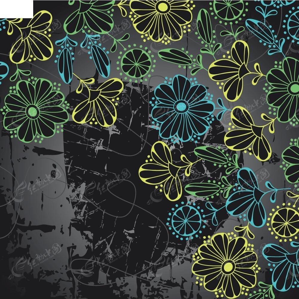 复古斑驳背景手绘线条花纹组合画面eps