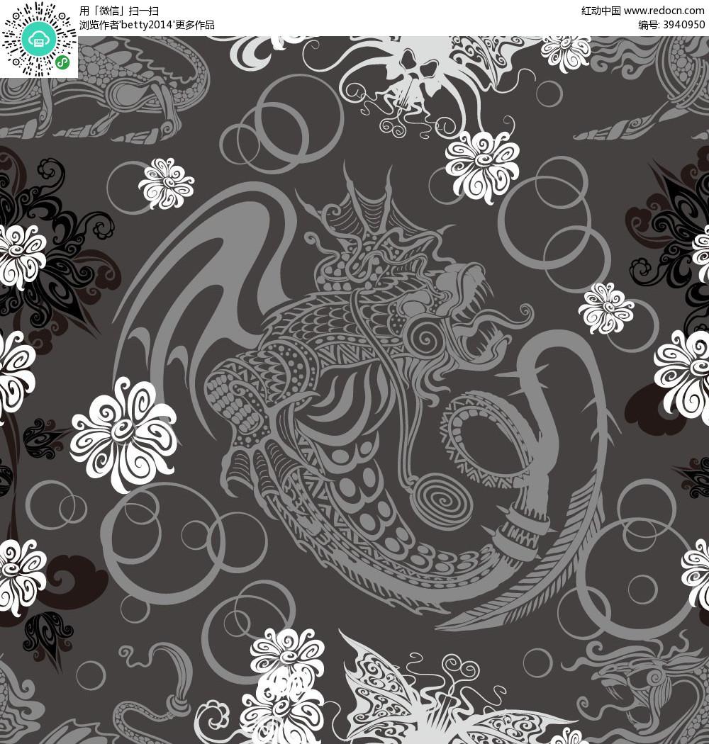 简洁复古手绘线条龙纹花纹组合卡片eps