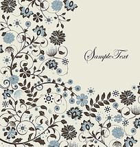 简洁手绘线条花纹组合花纹eps