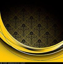 简约复古欧式手绘线条花纹组合卡片eps