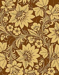 简约复古手绘线条花纹组合卡片eps