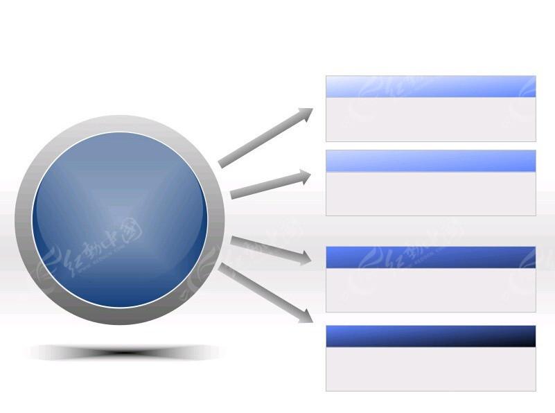 ppt立体圆形按钮关系图表