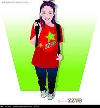 黑色背包的少女韩国商业插图