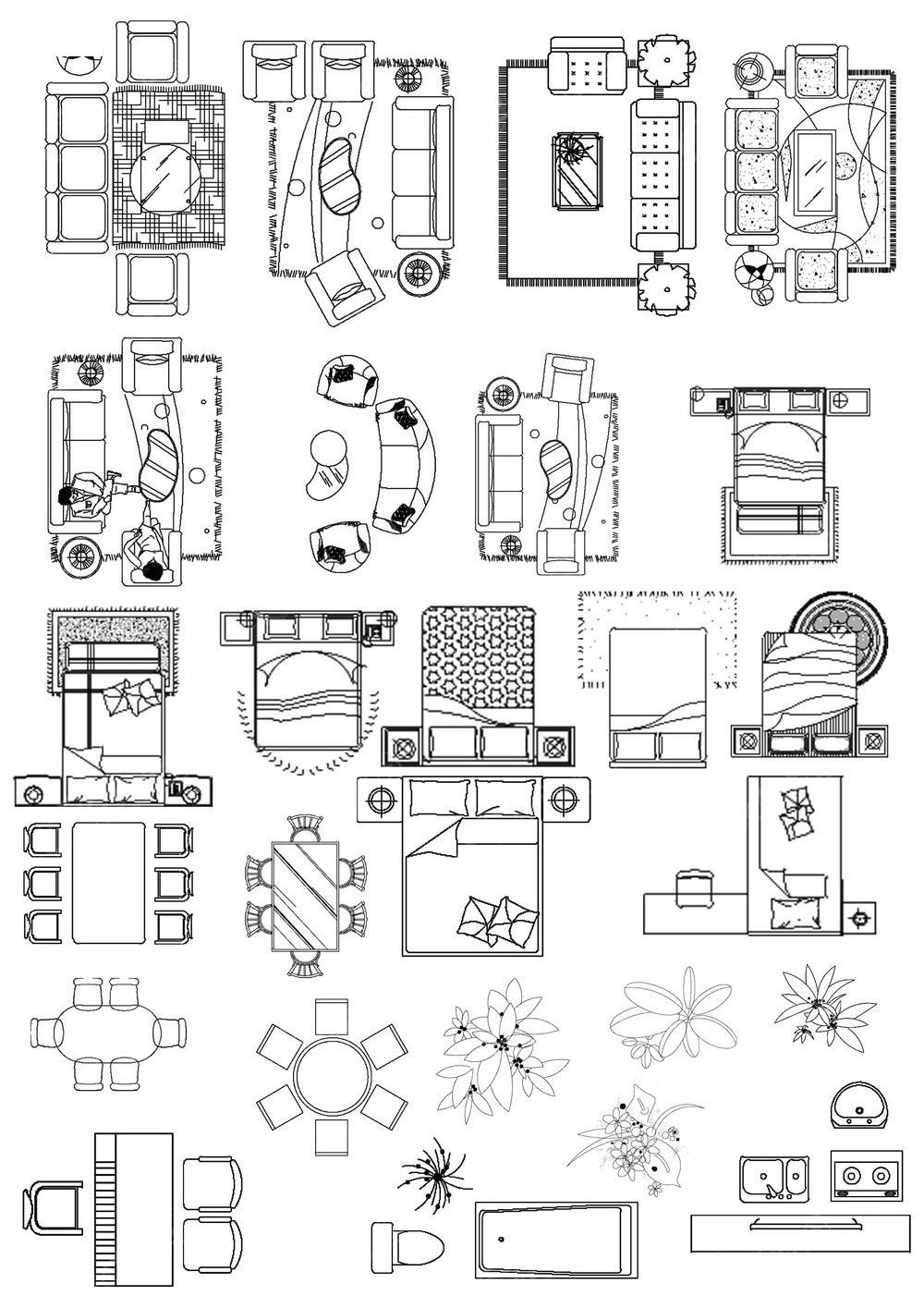 户型图黑白线条家具素材图片