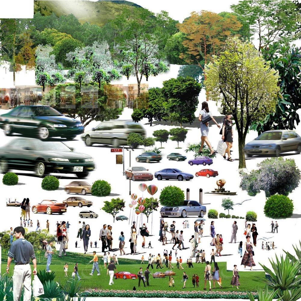 后期效果图平面素材 后期室外效果图 车 公园绿化素材 平面素材 ps
