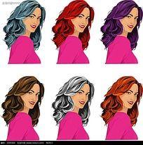 女性染发卡通人物素材