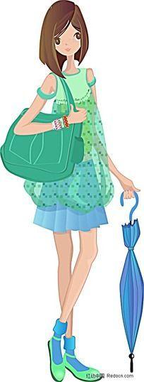 拿着蓝色雨伞绿色背包的女生韩国时尚图片