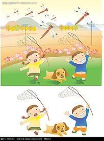 野外扑捉蜻蜓的儿童矢量素材