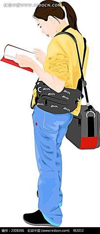 站着看书的黄衣少女风格插图