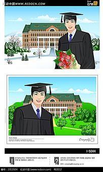 拿着花的毕业男生人物插画