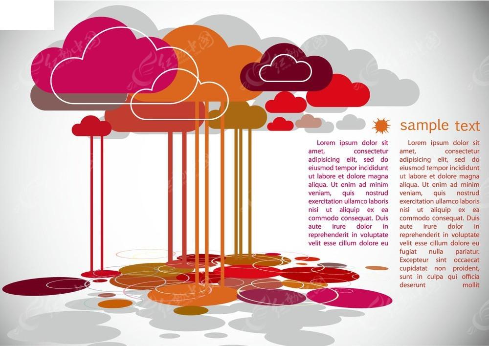 彩色云朵矢量素材