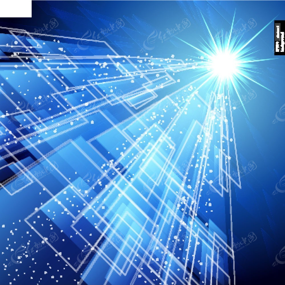 光�9aby�%_蓝色花纹光点矢量素材